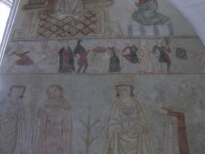 Die Wandmalerei in Ørslev Kirche.